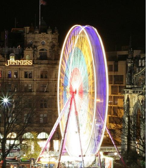 lit up Ferris Wheel
