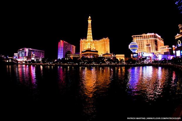 the strip in Las Vegas at night