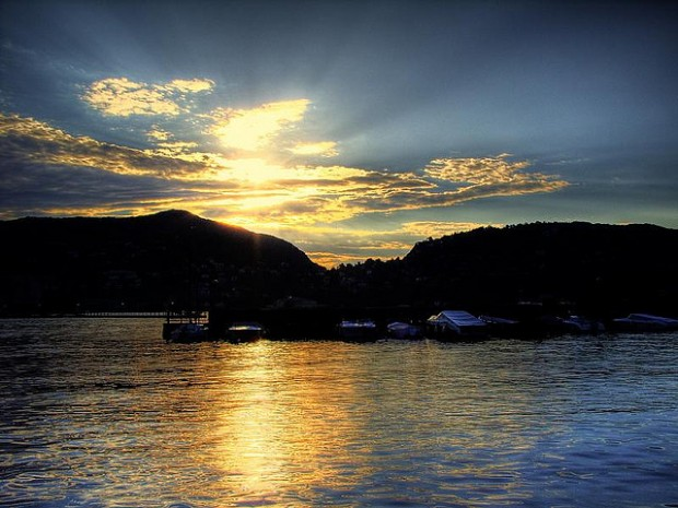 Sunset picture over lake Como, Italy