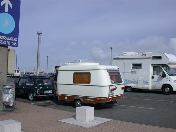 caravan in parking lot