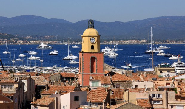 Church tower in St. Tropez, located in the south of France